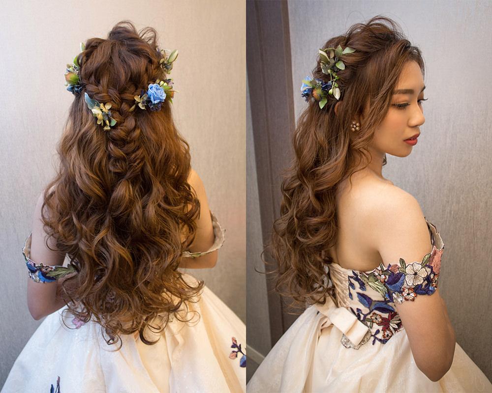 大波浪捲髮新娘造型